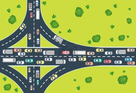 Illustration pour Vue aérienne de la circulation routière avec automobile et machines - image libre de droit