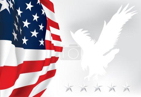 American flag Eagle Stars Vector
