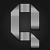 Letter metallic chromium ribbon - Q vector