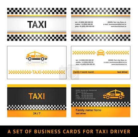 Illustration pour Taxi de carte de visite - premier ensemble de modèles de taxi de carte - image libre de droit