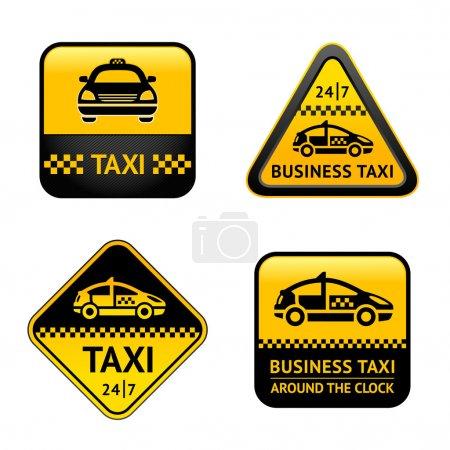 Illustration pour Ensemble taxis étiquettes - image libre de droit