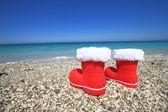 Boty Santa claus na pláži