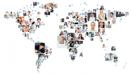 Photo for Collection of different portraits placed as world map shape - Royalty Free Image