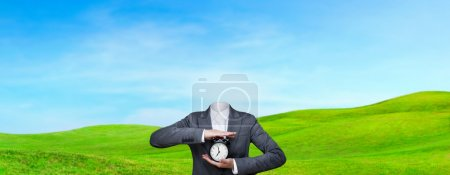 Conceptual image of a no head woman outdoor, lots of copy space