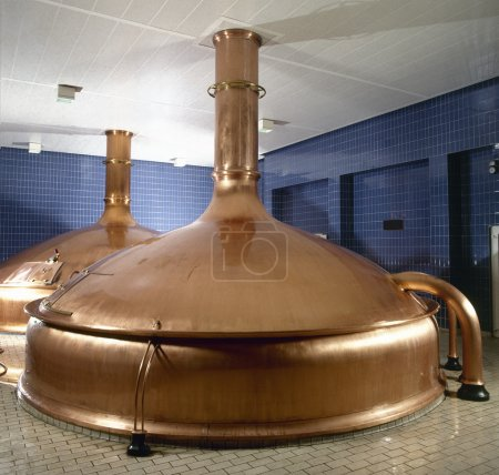 Brewery workshop with copper fermentation vats