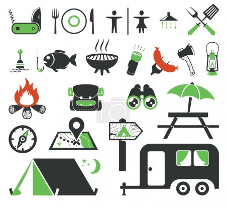 Illustration for Camping icons collection - Royalty Free Image