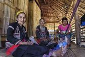 Thailand, Chiang Mai, Karen Long Neck hill tribe village (Kayan Lahwi), Karen women