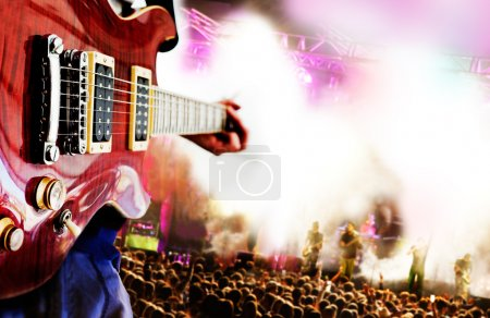Photo for Live music background,Guitar player and public - Royalty Free Image