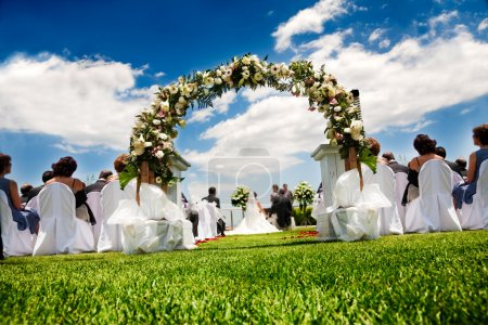 Photo for Idyllic wedding in garden and blue sky - Royalty Free Image