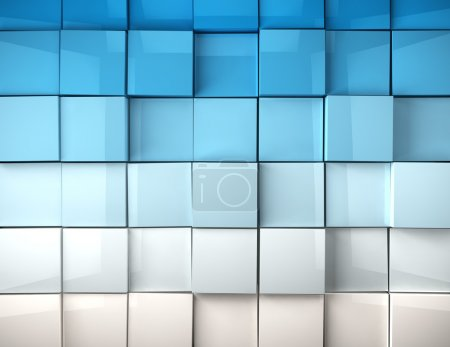 cubes background in blue toned