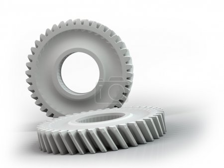Plastic gears isolated on white background