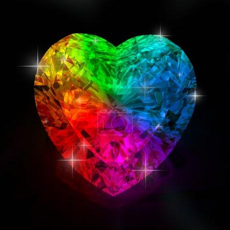 Photo pour Diamant arc-en-ciel forme de coeur isolé sur fond noir - rendu 3d . - image libre de droit