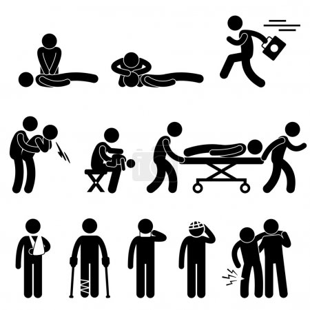 Illustration for A set of pictogram representing first aid, emergecy, and other life saving method and procedure. - Royalty Free Image