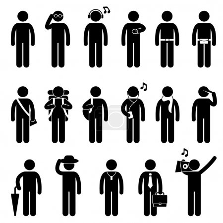Illustration for A set of pictogram showing man fashion with accessories. - Royalty Free Image