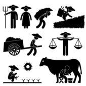 Farmář na farmě zemědělské krajiny vesnice zemědělství ikonu symbolu znamení piktogram