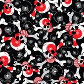 Skulls on black background - seamless pattern