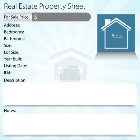 Illustration for An image of a real estate property sheet. - Royalty Free Image