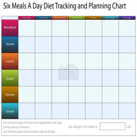Illustration for An image of a six meals a weekly day diet tracking and planning chart. - Royalty Free Image