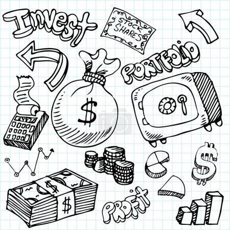 Financial Symbol Doodle Set