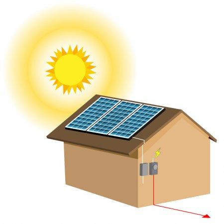 Illustration pour Une image d'un système résidentiel de panneaux solaires . - image libre de droit