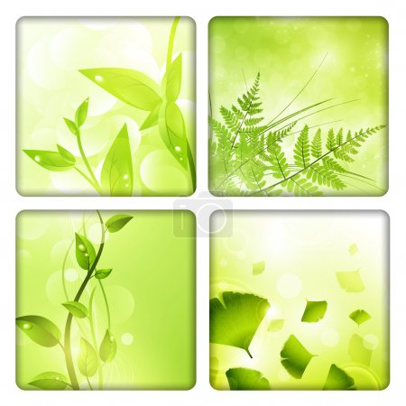 Illustration for Eco background collection with green leaves - Royalty Free Image
