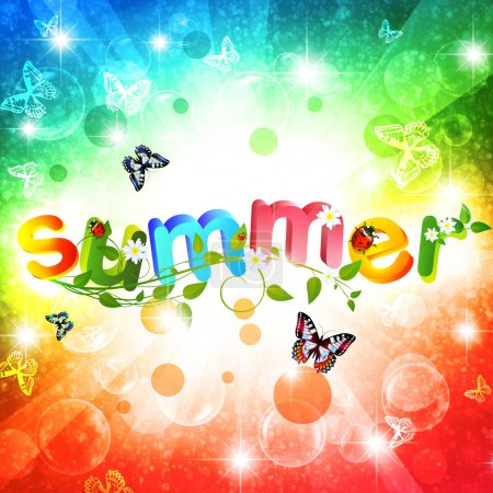 Illustration for Summer theme with floral over bright multicolored background - Royalty Free Image
