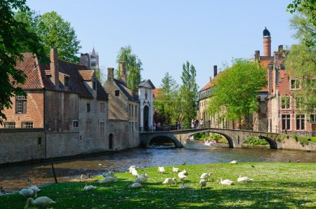 Canal and Beguinage in Bruges, Belgium
