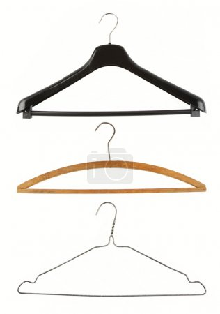 Photo for Three coat hangers isolated on plain background - Royalty Free Image