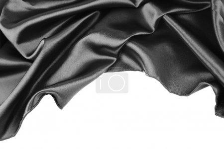 Black silk fabric on white