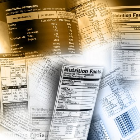 Photo for Nutrition information facts on assorted food labels - Royalty Free Image
