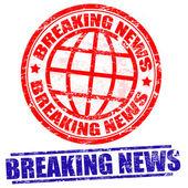 Breaking news grunge stamps on white vector illustration