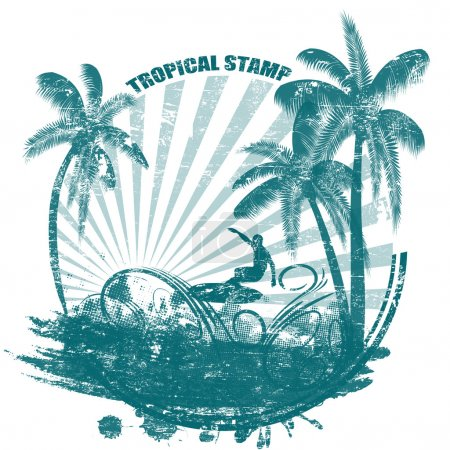 Illustration for Tropical grunge rubber stamp with palms and surfer, vector illustration - Royalty Free Image