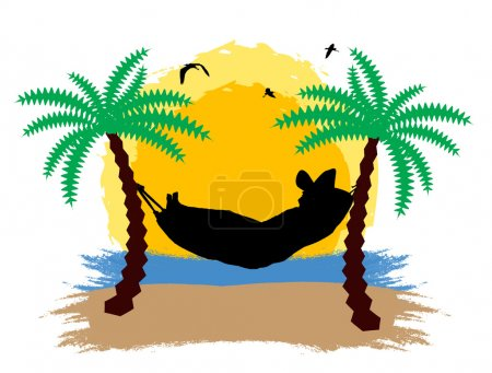 Illustration for A men relaxing on a hammock in the sunset between two palm trees, vector illustration - Royalty Free Image