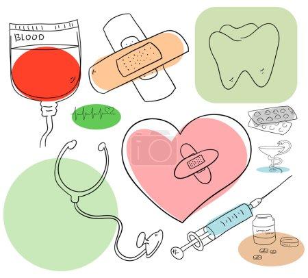 Illustration pour Les objets médicaux sont isolés sur un fond blanc - image libre de droit