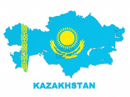 Kazakhstan, map with flag, isolated on white, with clipping path