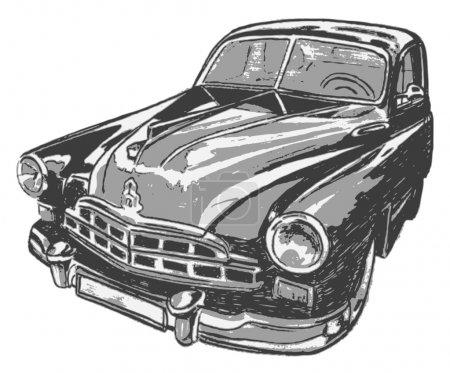 Illustration pour Voiture vintage, illustration vectorielle - image libre de droit