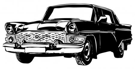 Illustration pour Voiture rétro, vintage classique automobile, illustration vectorielle - image libre de droit
