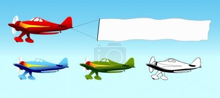 Illustration pour Avion avec bannière de ciel blanc, publicité aérienne, avions en différentes couleurs, illustration vectorielle - image libre de droit