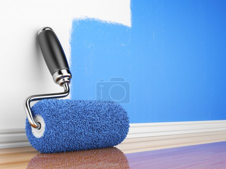 Photo for Painting of an empty wall. Renovation home. 3D illustration - Royalty Free Image