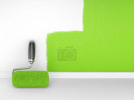 Photo pour Peinture d'un mur vide. rénovation maison. illustrationn 3D - image libre de droit