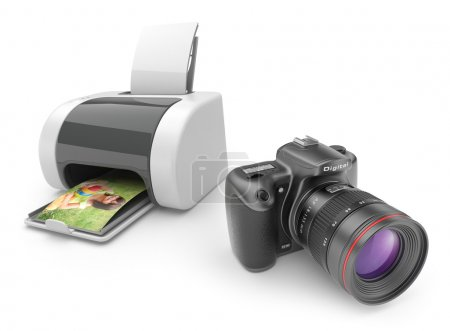 Printer with photo camera 3D. Print of photos. isolated