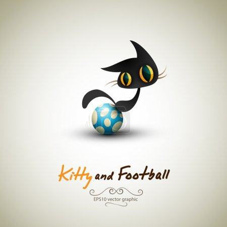 Illustration for Little Cat playing with Football | Great Greeting for Pet Owners | Layered EPS10 Vector Background - Royalty Free Image