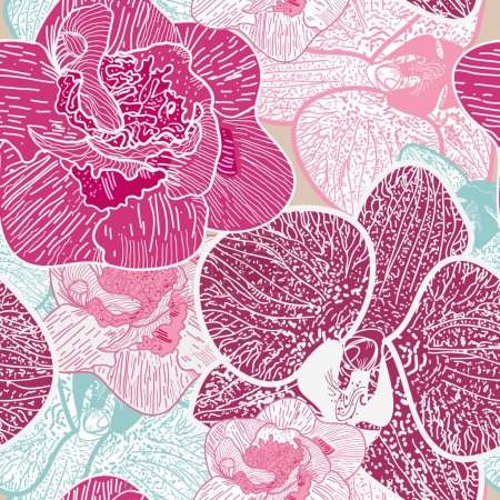 Photo for Seamless vector background with drawing multicolor flowers - Royalty Free Image