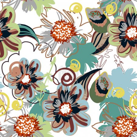 Photo for Seamless vector pattern with drawing flowers - Royalty Free Image