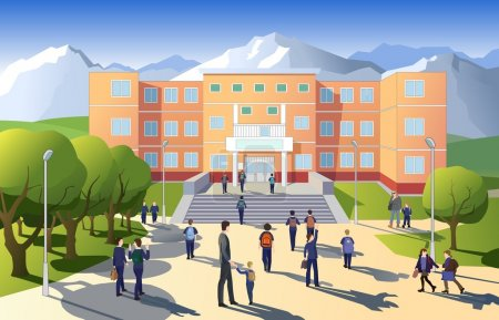 Illustration for Vector illustration of children going to school at morning - Royalty Free Image