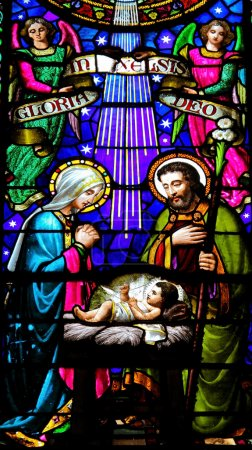 Photo for Nativity scene. Stained glass window in the Montserrat monastery in Catalonia, Spain. - Royalty Free Image