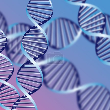 Illustration for DNA helix, biochemical abstract background with defocused strands, eps10 - Royalty Free Image