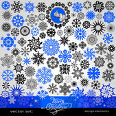 77 items - Christmas and New Year creative snowflakes and stars set horizontal blue winter banner vintage and retro ornaments text patterns for decoration and design