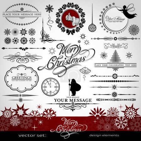 Illustration for Christmas and New Year decorative vector set, silhouettes of Santa Claus and fairy, calligraphic elements, vintage and retro ornaments, banners, text, dividers with snowflakes and stars for design - Royalty Free Image