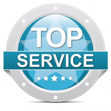 Ilustración de Botón de servicio superior azul con estrellas - Imagen libre de derechos